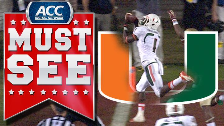 Miami's Allen Hurns Barely Stays Inbounds For Touchdown | ACC Must See Moment