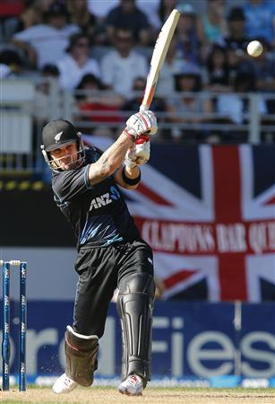 Brendon McCullum of New Zealand plays a shot against England during the final cricket match of their one-day international series at Eden Park