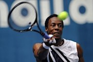 Gael Monfils, pictured on September 28, pulled out of the Japan Open Monday with a recurrence of the right knee trouble that has plagued his season, handing a first-round walkover to US Open champion Andy Murray