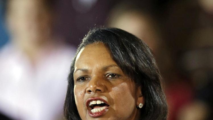 Former Secretary of State Condoleezza Rice introduces Republican vice presidential candidate, Rep. Paul Ryan, R-Wis. during a campaign rally at Baldwin Wallace University in Berea, Ohio, Wednesday, Oct. 17, 2012. (AP Photo/Mark Duncan)