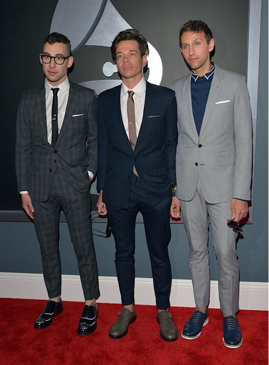 The 55th Annual GRAMMY Awards - Red Carpet: Jack Antonoff, Nate Ruess, and Andrew Dost of Fun.