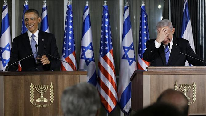 President Barack Obama and Israeli Prime Minister Benjamin Netanyahu laugh as they participate in a joint news conference, Wednesday, March 20, 2013, at the prime minister's residence in Jerusalem. (AP Photo/Carolyn Kaster)
