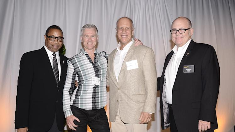 Screech Washington, and from left, John Rice, David Rosemont and Tim Gibbons attend at the Television Academy's 66th Emmy Awards Producers Nominee Reception at the London West Hollywood on Friday, Aug. 22, 2014. (Photo by Dan Steinberg/Invision for the Television Academy/AP Images)