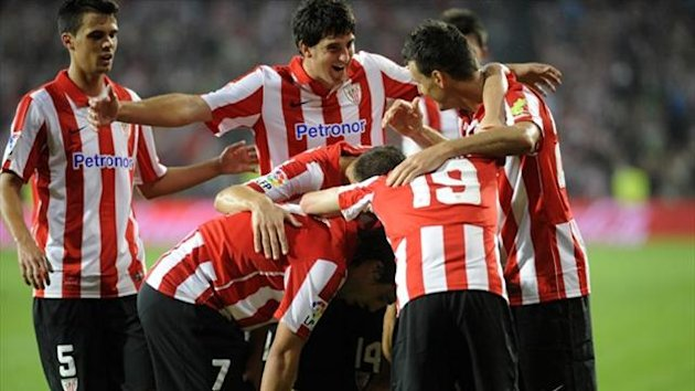 Athletic Bilbao's players celebrate after scoring against RC Celta de Vigo at the new San Mames stadium in Bilbao (AFP)