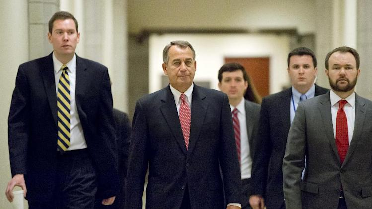 House Speaker John Boehner of Ohio, walks to meet with reporters on Capitol Hill in Washington, Thursday, Feb. 14, 2013.  (AP Photo/J. Scott Applewhite)