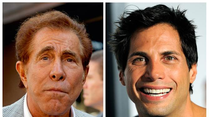 "This photo combination of file photos shows casino mogul Steve Wynn, left, in Los Angeles, and ""Girls Gone Wild"" founder Joe Francis, in Los Angeles. A jury says Francis slandered Wynn when he claimed the casino mogul threatened to kill him and bury him in the desert. The Los Angeles jury on Monday, Sept. 10, 2012, awarded Wynn $20 million. (AP Photo/Nick Ut, Chris Pizzello)"