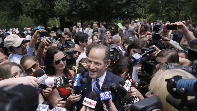 Former New York Governor Eliot Spitzer campaigns in New York