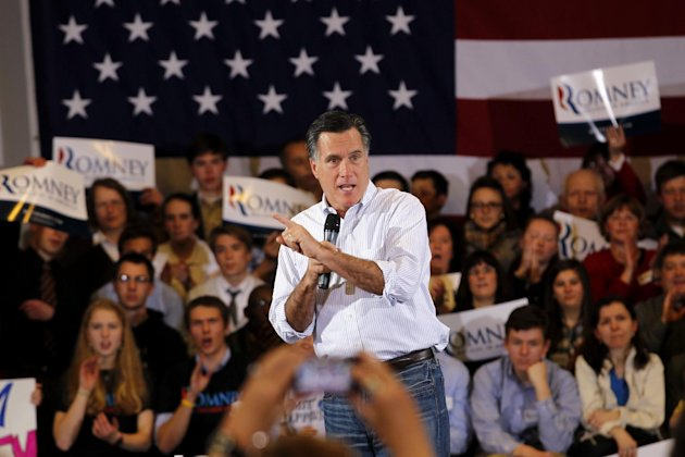Republican presidential candidate, former Massachusetts Gov. Mitt Romney speaks at a campaign rally in Cleveland, Friday, March 2, 2012. (AP Photo/Gerald Herbert)
