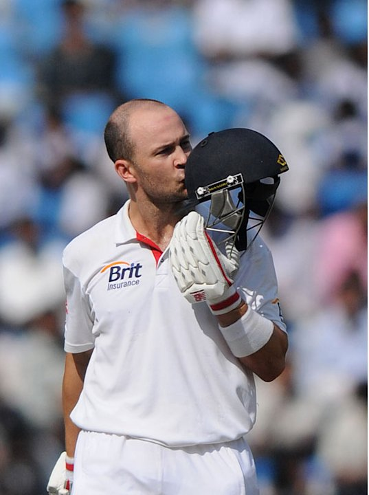 Jonathan Trott kisses his helmet after completing his ton on Day 5 of the fourth Test between India and England at the Jamtha Stadium in   Nagpur, Monday, December 17, 2012