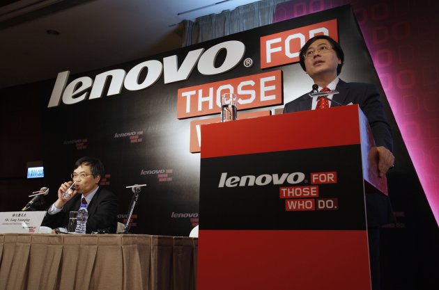 Lenovo Chairman and CEO Yang speaks during a news conference on the company's annual results in Hong Kong