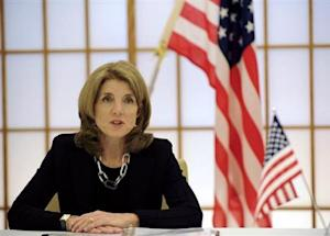 U.S. Ambassador to Japan Kennedy delivers a speech during a signing ceremony in Tokyo
