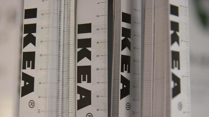 Tape measures are displayed in IKEA store in Wembley, north London