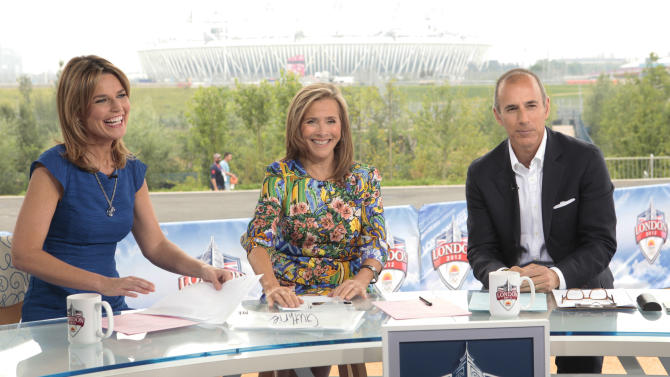 "This July 27, 2012 photo shows, from left, co-hosts of the ""Today"" show, from left, Savannah Guthrie, Meredith Vieira, and Matt Lauer during a broadcast of the morning news program from London. NBC is set to ""break even"" on its Olympics coverage, rather than lose money as previously expected, the head of NBCUniversal said Wednesday, Aug. 1. The company had expected at one point to take a $200 million loss on the London Olympics. NBC paid $1.2 billion for the rights to show the games on TV and online in the U.S. It has said that it sold more than $1 billion in ads, breaking the record of $850 million set during the Beijing Olympics in 2008. (AP Photo/NBC, Paul Drinkwater)"