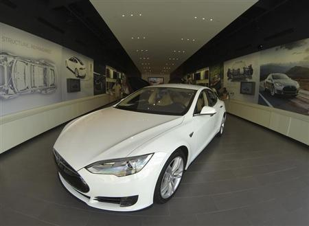 A Tesla Model S electric car is shown for sale at a Tesla store in a shopping mall in La Jolla