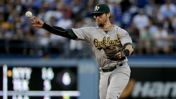 Oakland Athletics second baseman Eric Sogard throws Los Angeles Dodgers' Howie Kendrick out at first during the second inning of a baseball game in Los Angeles, Tuesday, July 28, 2015. (AP Photo/Chris Carlson)