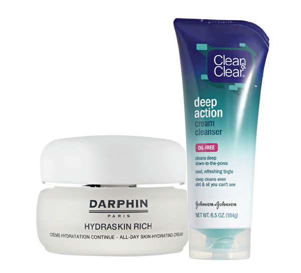Darphin Hydraskin Rich Moisturizing Cream and Clean & Clear Deep Action Cream Cleanser