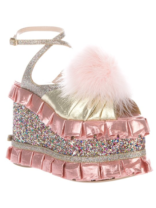 We are all so blessed to live in a world where these exist! This is the infant Barbie bassinette of my childhood dreams realized as footwear. (Meadham Kirchoff, $1,466)