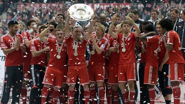 Bayern Munich players celebrate their Bundesliga title (AFP)