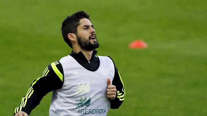 Spanish national soccer team player Isco attends a training session ahead Euro 2016 qualifier in Seville