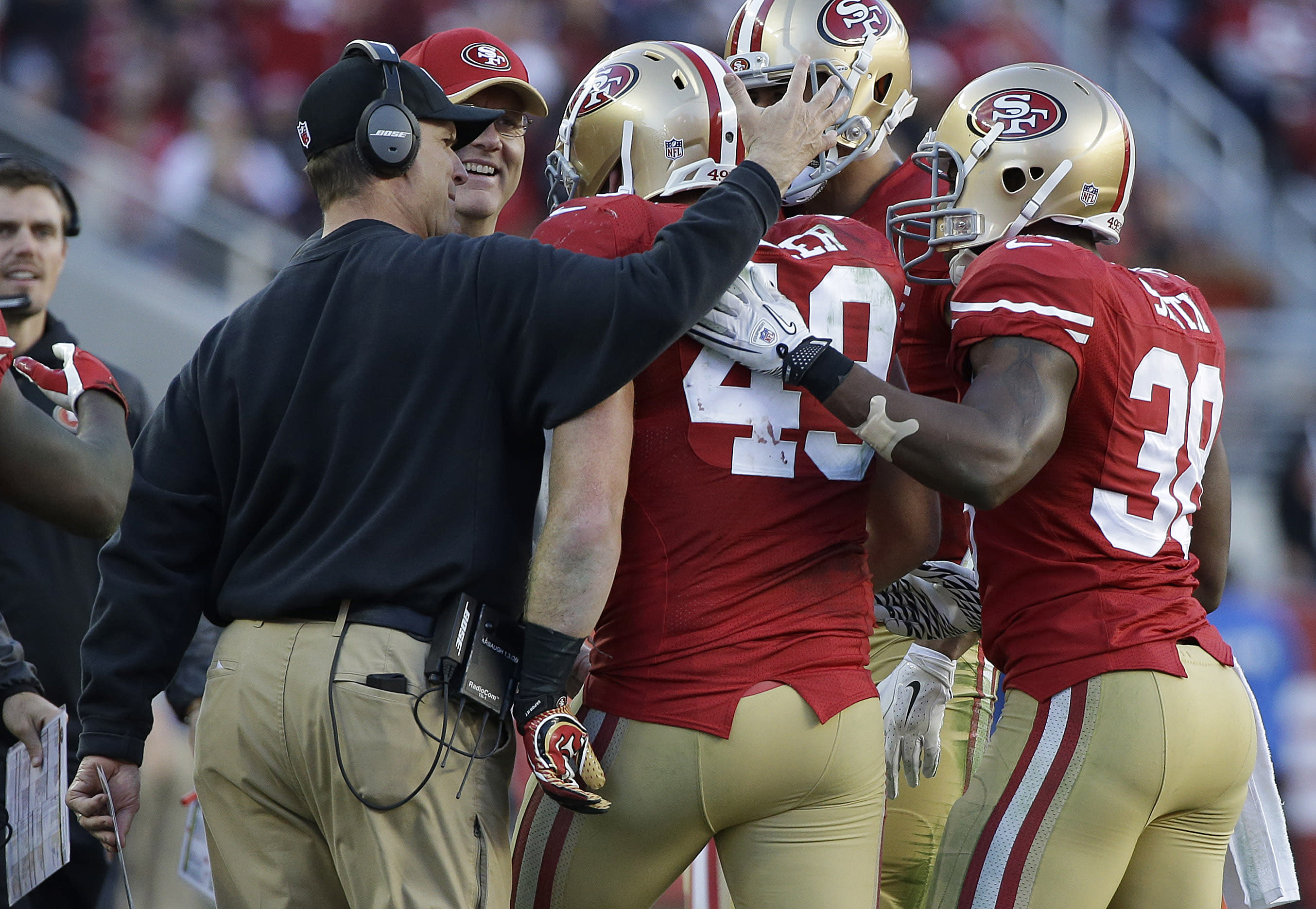 49ers win 20-17 in Jim Harbaugh's last game