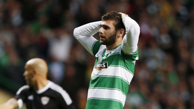 Celtic's Nadir Ciftci looks dejected after missing a chance to score