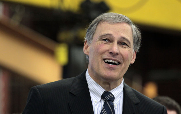 In this photo taken Feb. 6, 2102, Rep. Jay Inslee, D-Wash., speaks at a manufacturing facility in Seattle, Wash. Democratic officials said Saturday, March 10, 2012, that eight-term veteran Inslee intends to resign from Congress to focus full time on running for governor of Washington state this fall. Washington&#39;s Democratic governor, Christine Gregoire is retiring at the end of her term, and Inslee has long been rumored as a Democratic contender to replace her. (AP Photo/Elaine Thompson, File)
