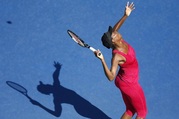 Venus Williams practices ahead of the of the 2014 U.S. Open tennis tournament, Sunday, Aug. 24, 2014, in New York. (AP Photo/Matt Rourke)