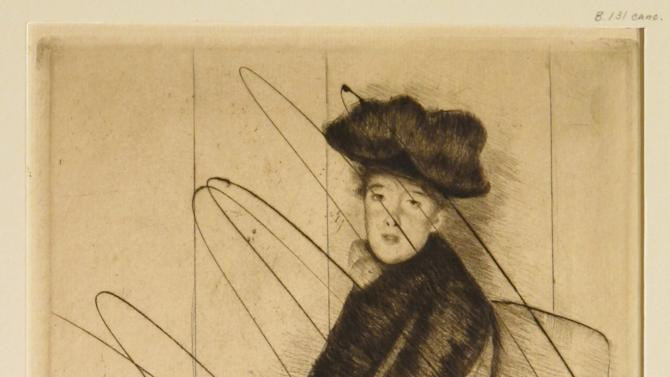 """In this undated photo released by the New York Public Library, a cancelled print entitled """"reflection,"""" by American Artist Mary Cassatt is shown. Cassatt would make no more than 25 impressions from a single plate and then would incise the plate with a dry point needle so no one could pull any images from it again, said Madeleine Viljoen, curator of the library's print collection. Eighty-eight examples of Cassatt's work as a printmaker will be on display at the New York Public Library starting Friday, March, 8, 2013, in an exhibit entitled """"Daring Methods: The Prints of Mary Cassatt."""" (AP Photo/New York Public Library, Mary Cassatt)"""
