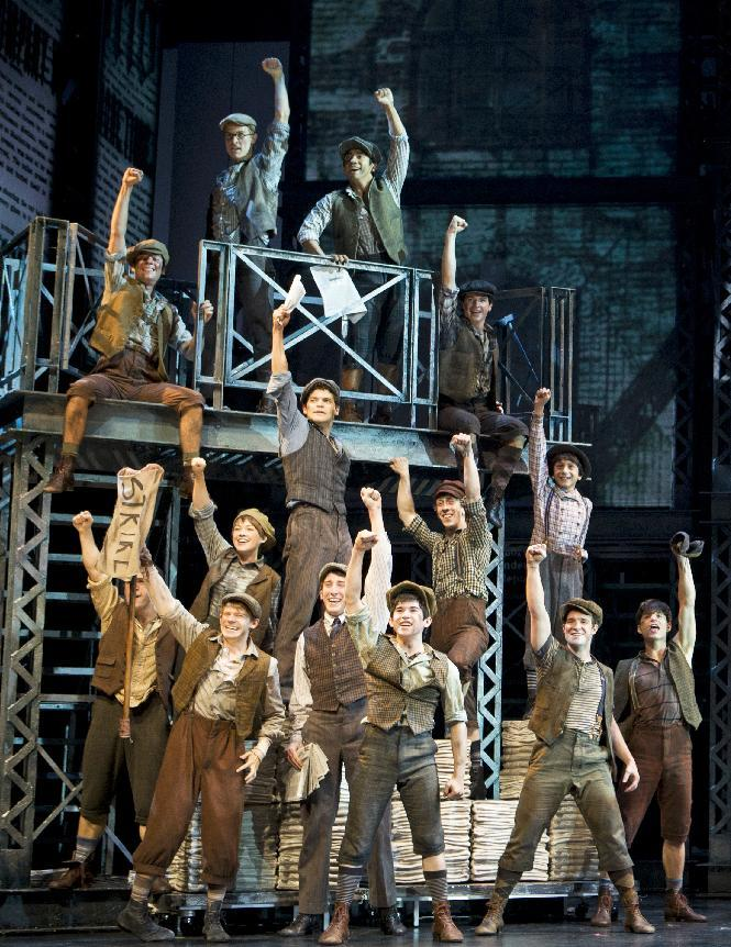 "In this theater image released by Disney Theatrical Productions, the cast is shown from the musical ""Newsies.""  The production was nominated for a Tony Award for best musical, Tuesday, May 1, 2012. (AP Photo/Disney Theatrical Productions, T Charles Erickson)"