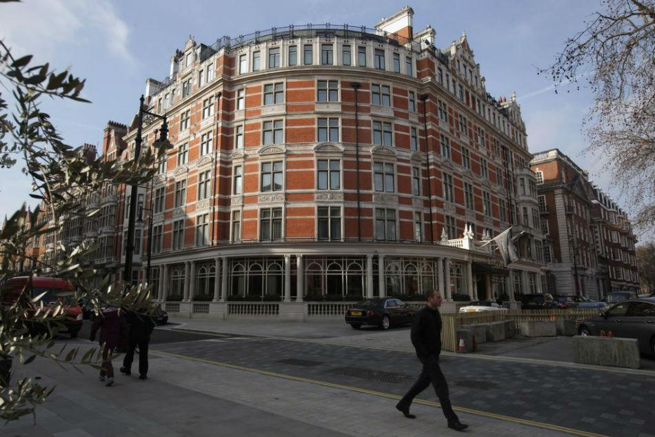 A general view of the Connaught Hotel in Mayfair in London, England.