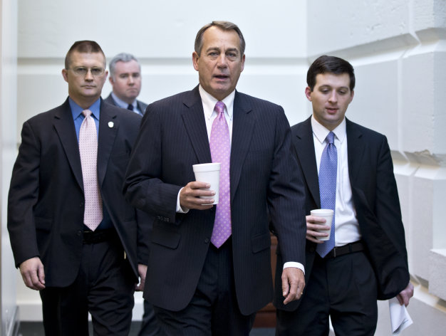 <p>               In this Jan. 4, 2013, photo, House Speaker John Boehner of Ohio, walks to a strategy session with GOP members, on Capitol Hill in Washington at the start of the first full day of business for the new 113th Congress. Republicans in Congress who took the politically risky step of voting this week to raise taxes now find themselves trying to fend off potential primary challenges next year from angry conservatives. These lawmakers wasted little time in attempting to deliver an explanation that would be acceptable to the tea party and the GOP's right flank, and, perhaps, insulate themselves from a re-election battle against a fellow Republican. They've started defending the vote as one that preserves tax cuts for most Americans, while promising to fight for spending cuts in upcoming legislative debates over raising the nation's borrowing limit. (AP Photo/J. Scott Applewhite)