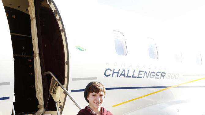 IMAGE DISTRIBUTED FOR BOMBARDIER BUSINESS AIRCRAFT - Tom Holland is seen at The Hollywood Reporter's Palm Springs Shuttle presented by Bombardier Business Aircraft - Day 2, on Saturday, January 5, 2013 in Palm Springs, California. (Photo by Todd Williamson/Invision for Bombardier/AP Images)
