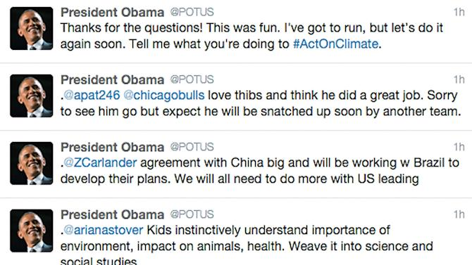 This screen capture shows President Barack Obama's answers to questions posted to his twitter feed during a question and answer session hosted by the President in Miami, Thursday, May 28, 2015. Give people a chance to pop a question to POTUS, and they'll take the invitation and run with it. President Barack Obama took to Twitter on Thursday for his first Q-and-A since setting up his (at)POTUS handle last week. (AP Photo)