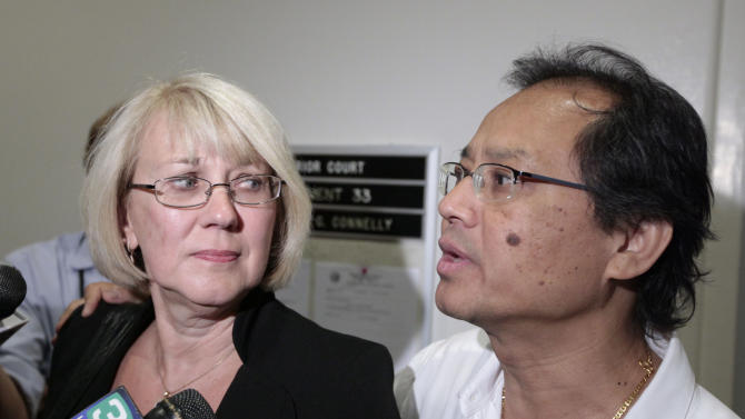 Kathy and Fred Santos discuss a judges ruling that former Gov. Arnold Schwarzenegger didn't break any law when he reduced the manslaughter sentence for one of the men convicted in the death of their son,  Friday, Sept. 7, 2012, in Sacramento, Calif.   Sacramento Superior Court Judge Lloyd Connelly said the governor did not violate the voter-approved Marsy's Law when he reduced the sentence of Esteban Nunez,  who pleaded guilty in the 2008 stabbing death of Luis Santos.  Schwarzenegger issued the commutation for Nunez, the son of former Assembly Speaker Fabian Nunez, D-Los Angeles, hours before he left office in January 2011.(AP Photo/Rich Pedroncelli)