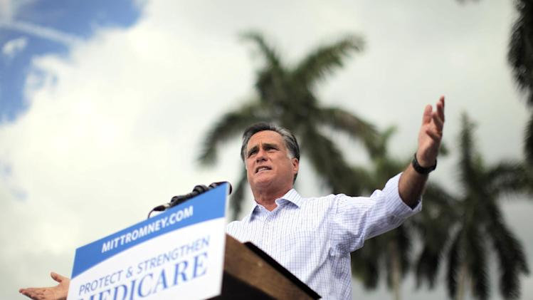 Republican presidential candidate and former Massachusetts Gov. Mitt Romney campaigns at the Ringling Museum of Art in Sarasota, Fla.,  Thursday, Sept. 20, 2012. (AP Photo/Charles Dharapak)