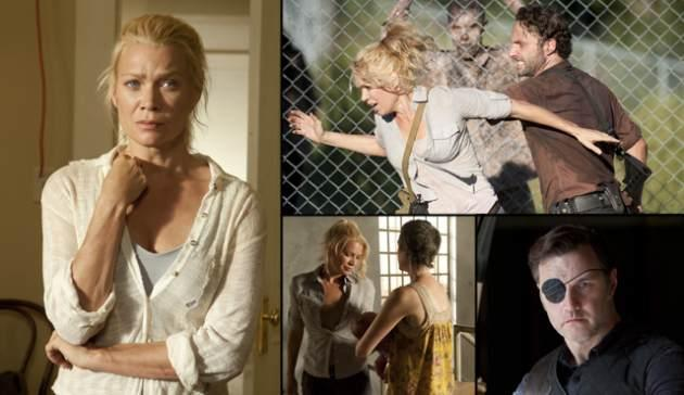 Left: Laurie Holden as Andrea; Top Right: Laurie Holden as Andrea & Andrew Lincoln as Rick Grimes; Bottom left: Laurie with Melissa McBride as Carol, David Morrissey as The Governor on 'The Walking Dead' -- Gene Page/AMC