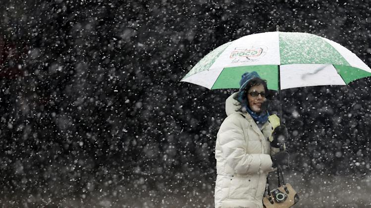 A woman stays dry under an umbrella during a winter storm in Buffalo, N.Y., Friday, Feb. 8, 2013. In some upstate areas, snow fell early Friday morning and was expected to increase throughout the day, with the heaviest accumulations expected in eastern New York on Friday night. (AP Photo/David Duprey)