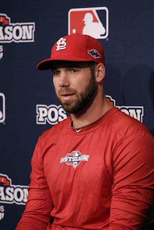 St. Louis Cardinals pitcher Chris Carpenter answers questions during a news conference Saturday, Oct. 20, 2012 in San Francisco. The Cardinals face the San Francisco Giants in Game 6 of the National League championship baseball series Sunda. Carpenter is slated to be the starting pitcher. (AP Photo/Ben Margot)