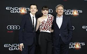 "Butterfield, Steinfeld and Ford pose at the premiere of ""Ender's Game"" at the TCL Chinese theatre in Hollywood"