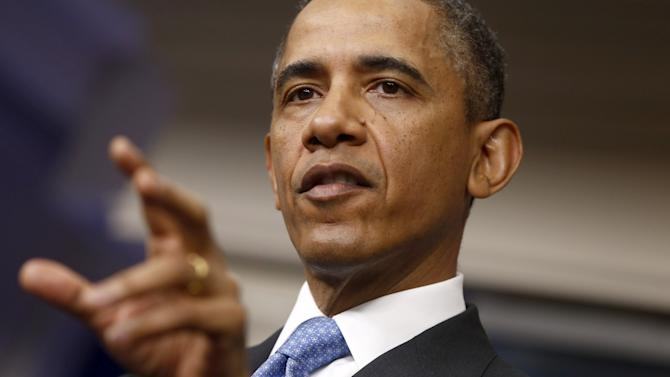 President Barack Obama speaks at a news conference in the Brady Press Briefing Room of the White House in Washington,Tuesday, April 30, 2013. The president said the US doesn't know how or when chemical weapons were used in Syria or who used them. (AP Photo/Charles Dharapak)