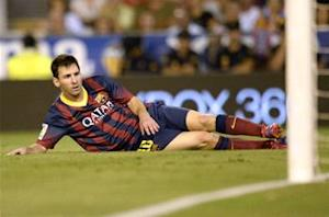 Barcelona's Lionel Messi out up to three weeks with thigh injury