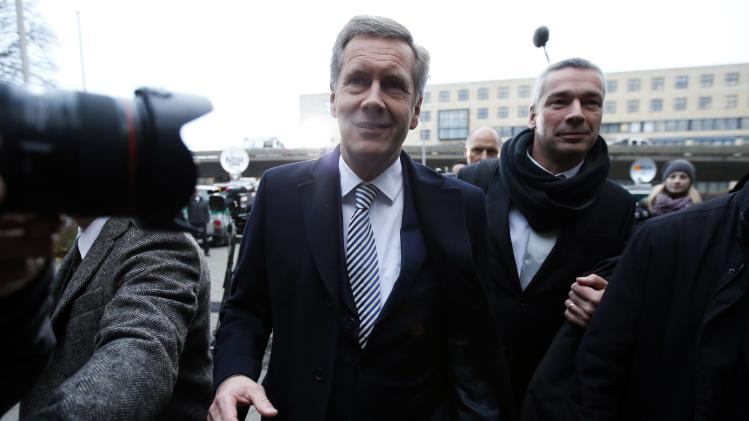 Former German President Christian Wulff arrives to his trial at the regional court in Hanover