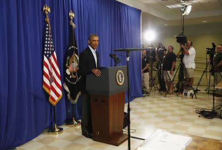 U.S. President Barack Obama delivers a statement from Martha's Vineyard, Massachusetts