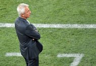 Dutch headcoach Bert van Marwijk attends the Euro 2012 championships football match against Germany on June 13 at the Metalist Stadium in Kharkiv. Van Marwijk admits his side have no option but to attack if they are to secure the two-goal win over Portugal on Sunday that they need to reach the Euro 2012 last eight