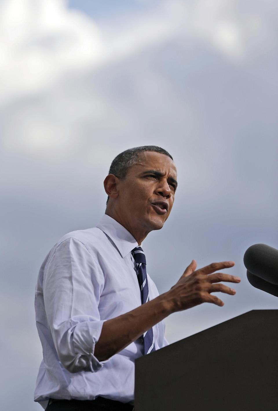 President Barack Obama speaks during a campaign event at Colorado State University, Tuesday, Aug. 28, 2012 in Fort Collins, Colo. (AP Photo/Pablo Martinez Monsivais)