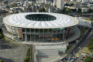 An aerial shot shows the Arena Fonte Nova stadium, one of the stadiums hosting the 2014 World Cup soccer matches, in Salvador