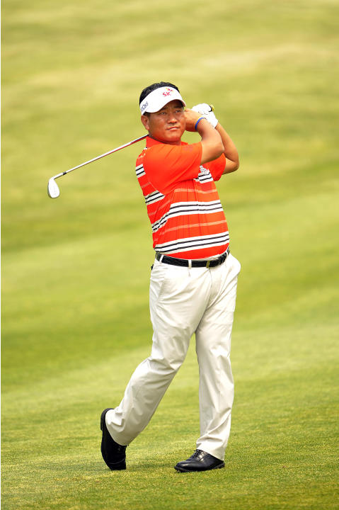 This handout photo provided by OneAsia on May 13, 2012 shows K J Choi of South Korea during the SK Telecom Open Pro am event at the Pinx Golf Club in Jeju Island on May 16, 2012.  The 900,000 USD even