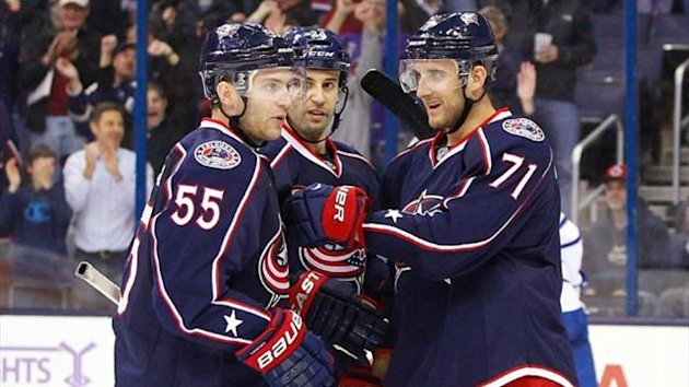 Columbus Blue Jackets left wing Nick Foligno (71) celebrates a goal with center Mark Letestu (55) during the third period against the Toronto Maple Leafs (Reuters)