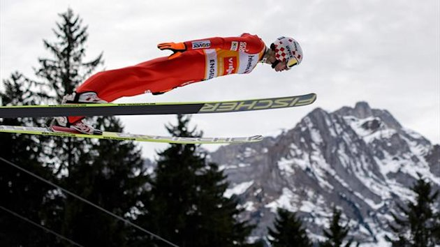 Poland's Kamil Stoch competes to win the FIS Ski Jumping World Cup competition in Engelberg (AFP)