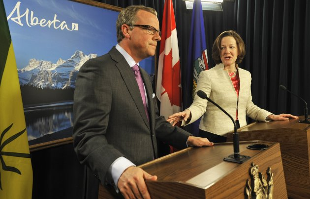 Alberta Premier Redford and Saskatchewan Premier Wall address media following talks at the Alberta Legislature in Edmonton